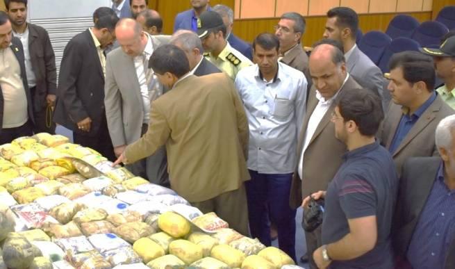 UNODC Iran Country Representative, Alexander Fedulov and Governor of Zabol visiting seized drugs exhibition