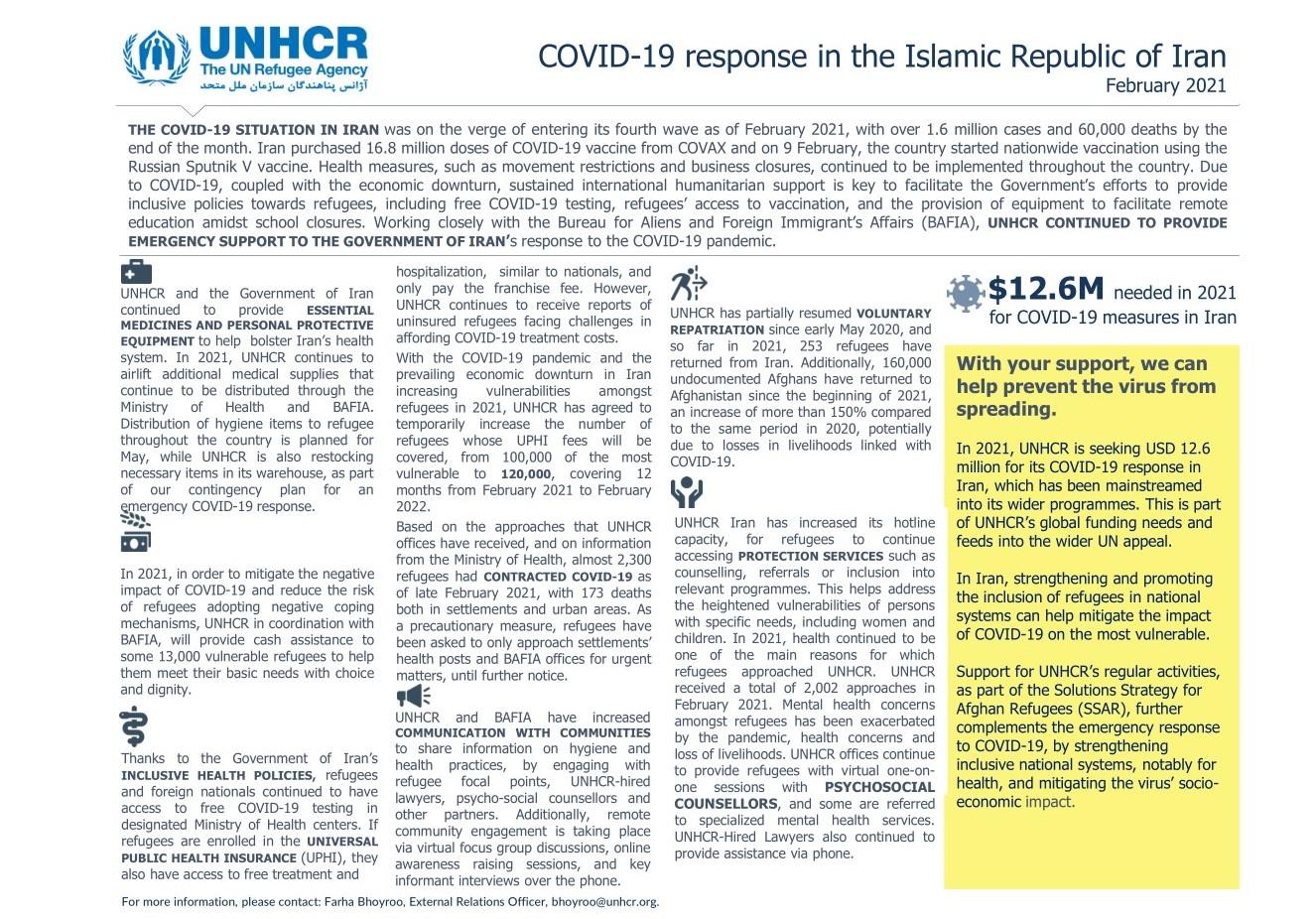 UNHCR Iran's COVID-19 Update (February 2021)