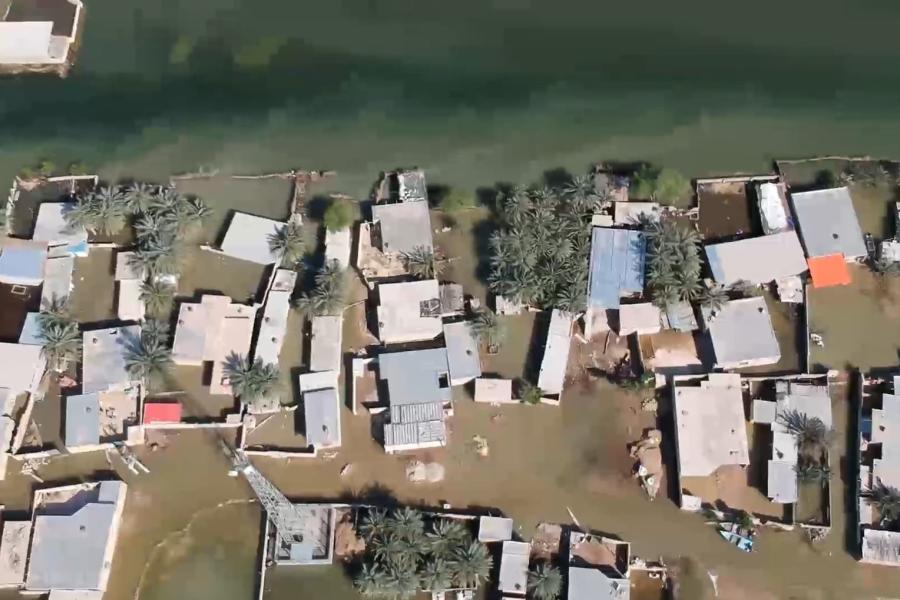 A Residential area damaged by flood in the Khuzestan Province (Southern Iran)