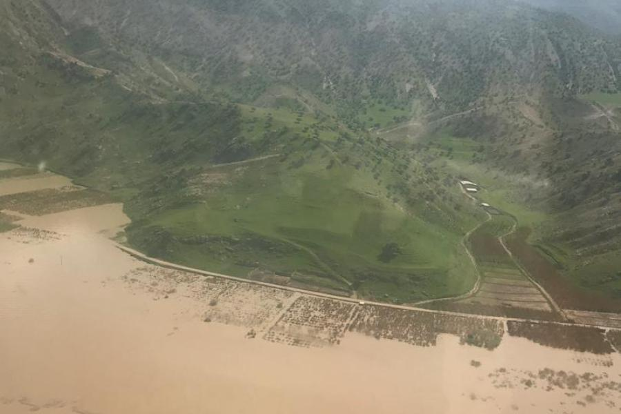 A flood-hit area in the Lorestan Province (Southern Iran)