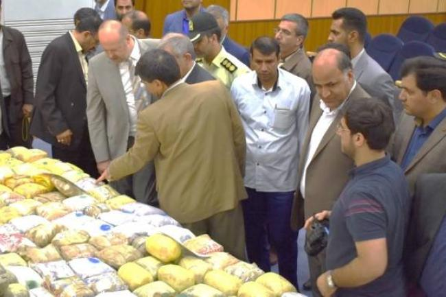 UNODC Iran Country Representative, Alexander Fedulov and Governor of Zabol visiting seized drugs exhibition